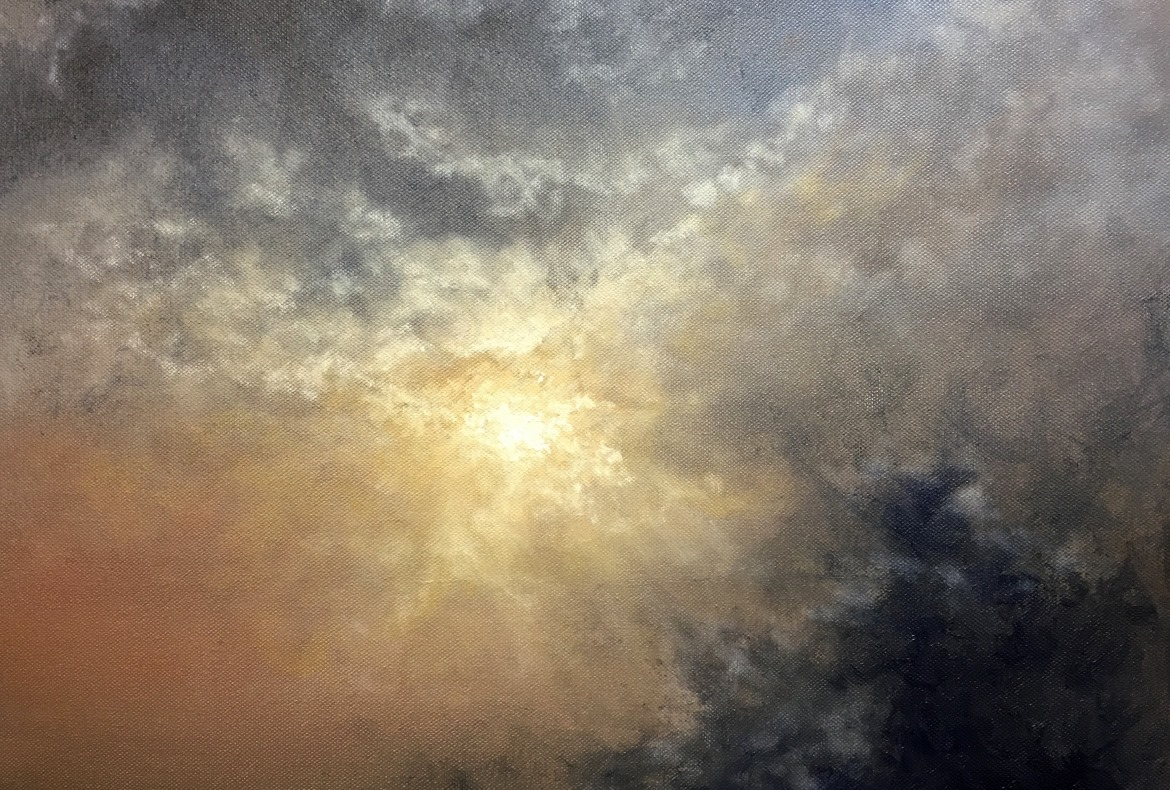 Looking Up Oil Painting Cloudscape by Nial Adams