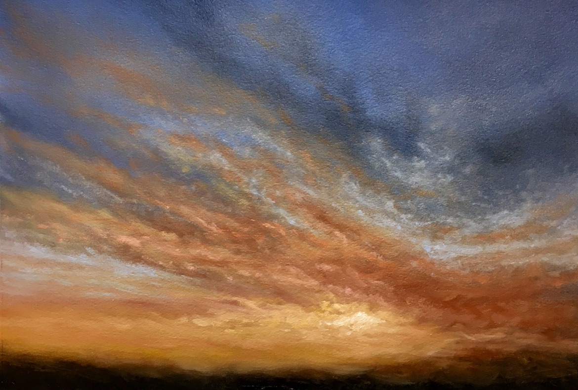 Evening Sky Fire - Oil on Paper Study by Nial Adams