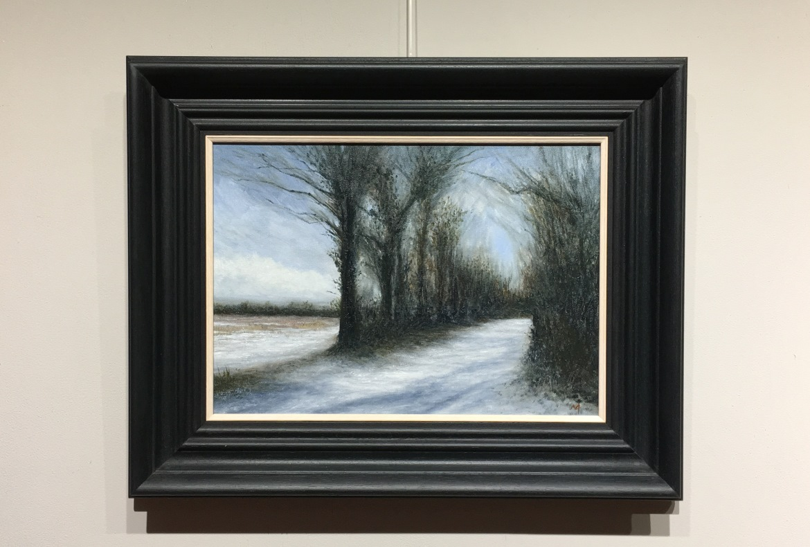 Winter Lane Hevingham Snow Study Oil Painting Nial Adams