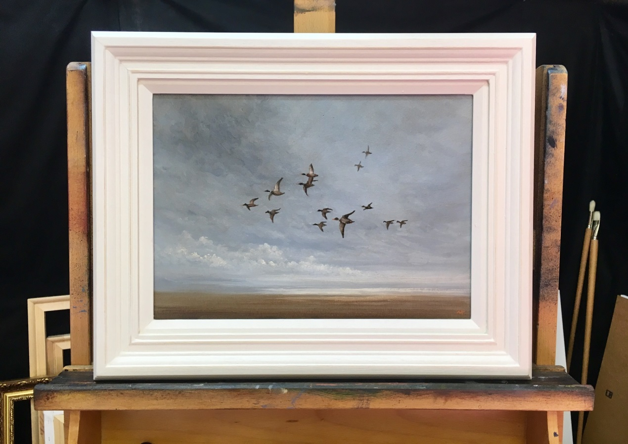 Norfolk Coastal Flighting Mallards - Original Oil Painting by Nial Adams
