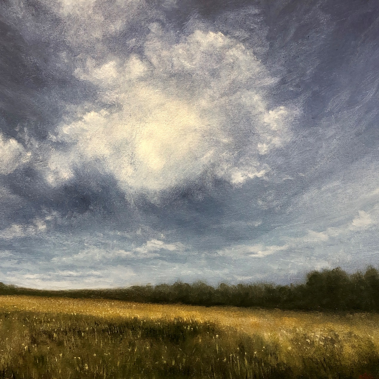 Summer Skies Over Castle Acre Priory Landscape Painting Nial Adams FRSA
